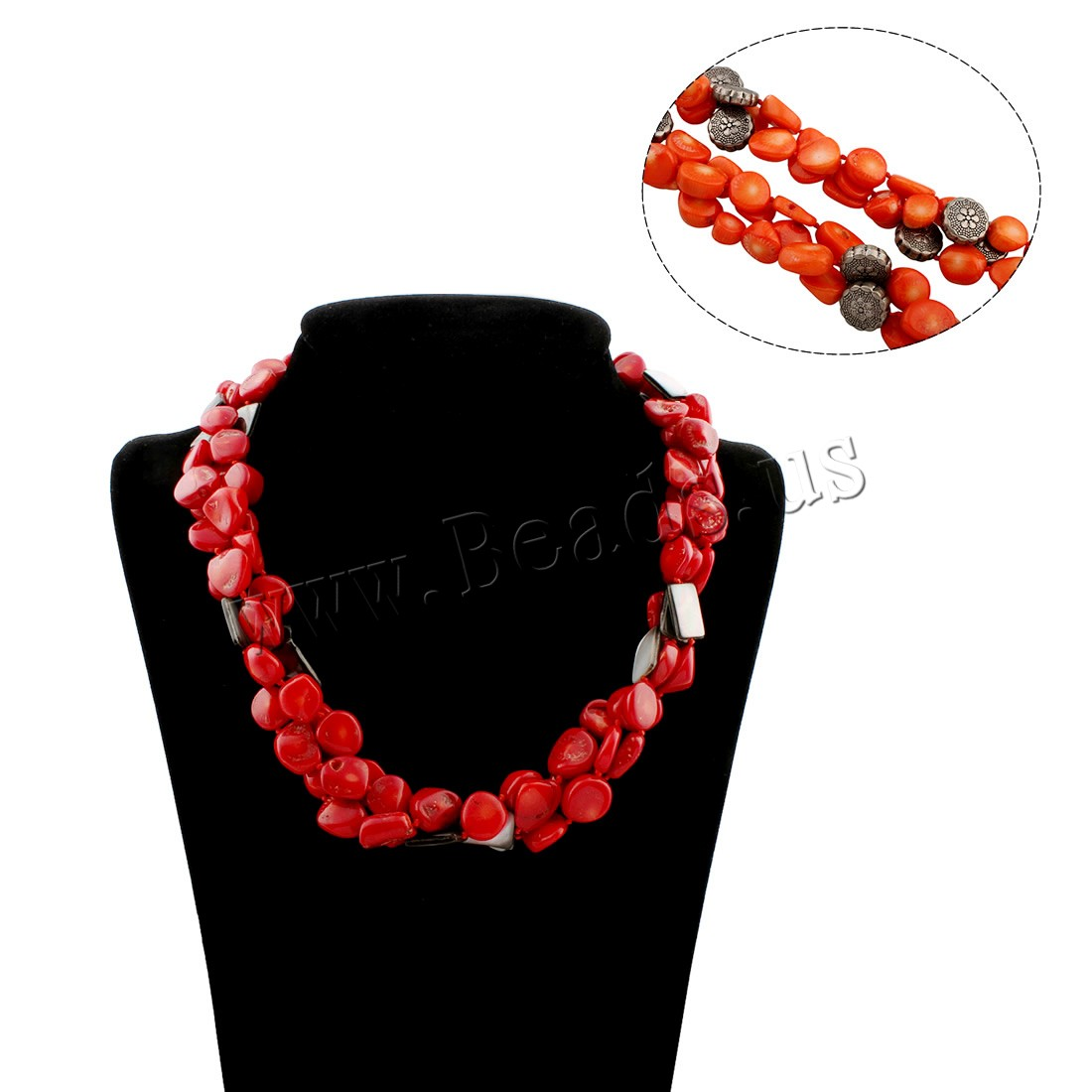 Buy Coral Necklace Natural Coral Black Shell & Copper Coated Plastic brass spring ring clasp woman colors choice 15x10x3mm Sold Per Approx 18 Inch Strand