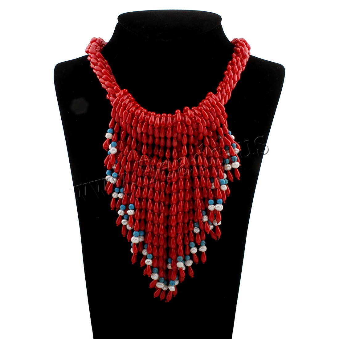 Buy Coral Necklace Natural Coral Turquoise & Freshwater Pearl brass spring ring clasp woman red 6x5x4mm Sold Per Approx 18.5 Inch Strand