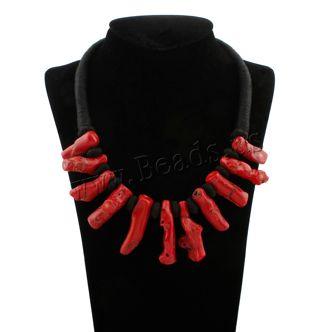 Buy Coral Necklace Natural Coral Nylon Cord woman red 12x38x12mm-13x47x15mm Sold Per Approx 20.5 Inch Strand