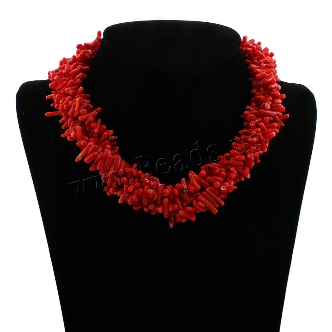 Buy Coral Necklace Natural Coral brass spring ring clasp Chips & woman red 7x3x3mm-23x2x3mm Sold Per Approx 15 Inch Strand