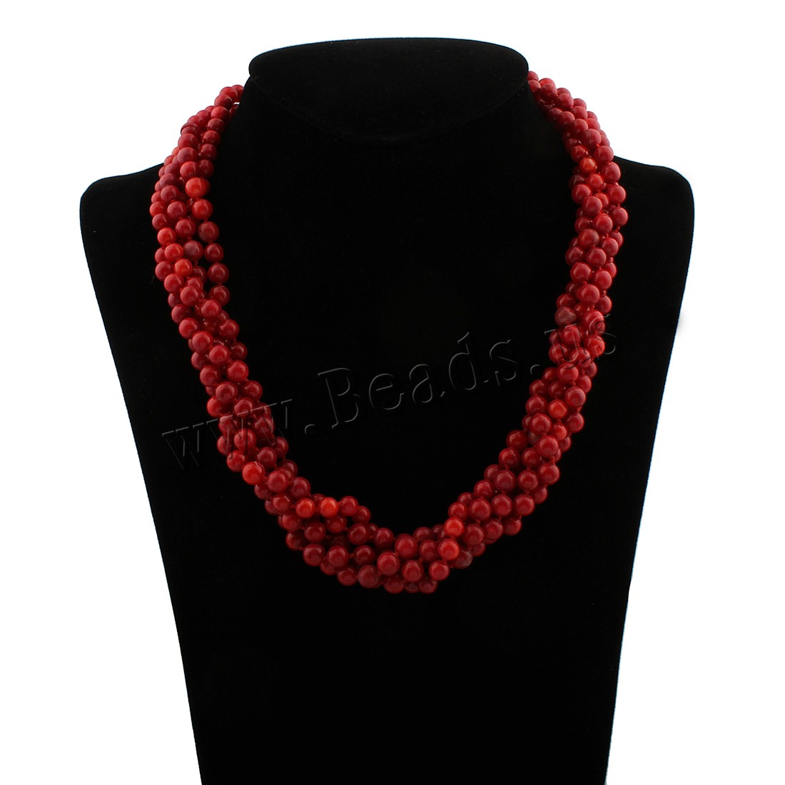 Buy Coral Necklace Natural Coral brass spring ring clasp woman red 6x6mm Sold Per Approx 18 Inch Strand