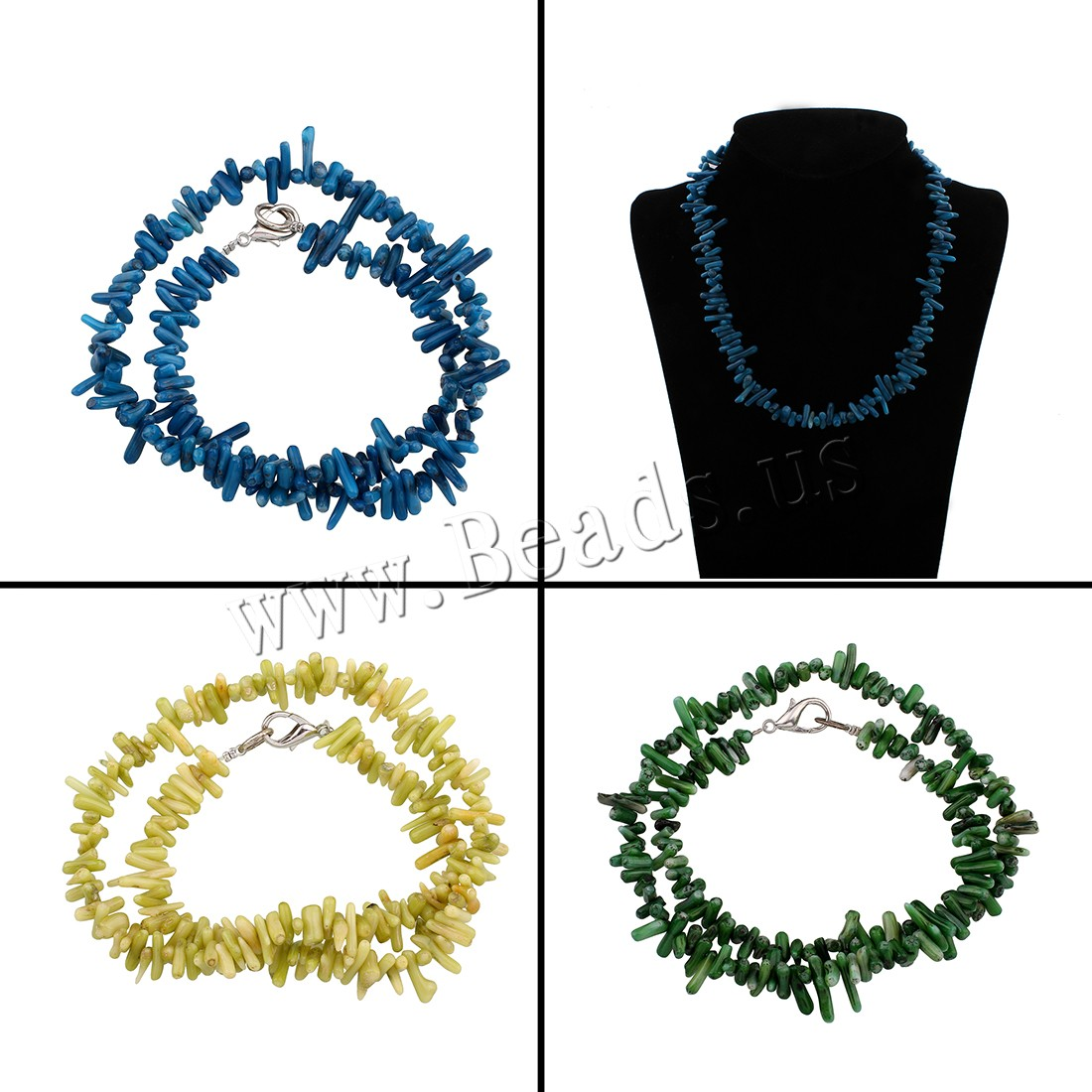 Buy Coral Necklace Natural Coral brass lobster clasp Chips & woman colors choice 6x4x3mm-16x3x5mm Sold Per Approx 17 Inch Strand