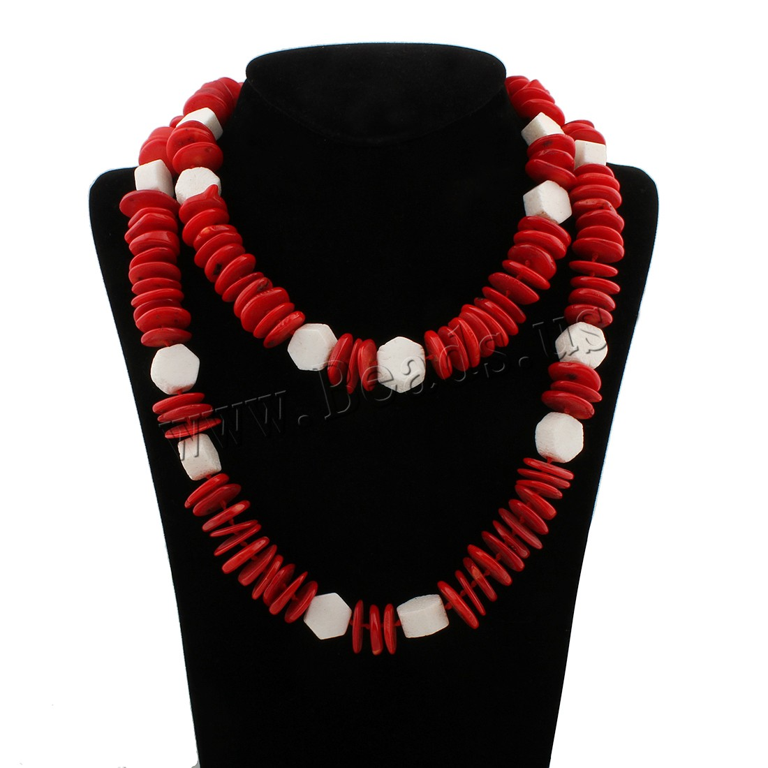 Buy Coral Sweater Chain Necklace Natural Coral woman & two tone 15x16x18mm Sold Per Approx 39 Inch Strand