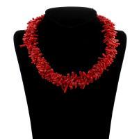 Koralle Halskette, Natürliche Koralle, Messing Federring Verschluss, für Frau, rot, 3x6x3mm-4x15x4mm, verkauft per ca. 16.5 ZollInch Strang