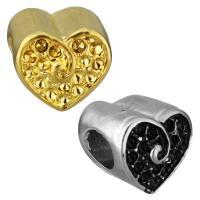 Edelstahl European Perlen, Herz, plattiert, ohne troll, keine, 11x10.50x10.50mm, Bohrung:ca. 5mm, Innendurchmesser:ca. 1mm, 10PCs/Tasche, verkauft von Tasche