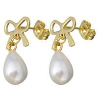 Edelstahl Tropfen Ohrring, mit Glasperlen, Schleife, goldfarben plattiert, für Frau, 21mm, 7.5x14mm, 6PaarePärchen/Menge, verkauft von Menge