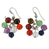 Edelstein Ohrringe, Messing, mit Edelstein, silberfarben plattiert, für Frau, 6mm, 34.5mm, verkauft von Paar
