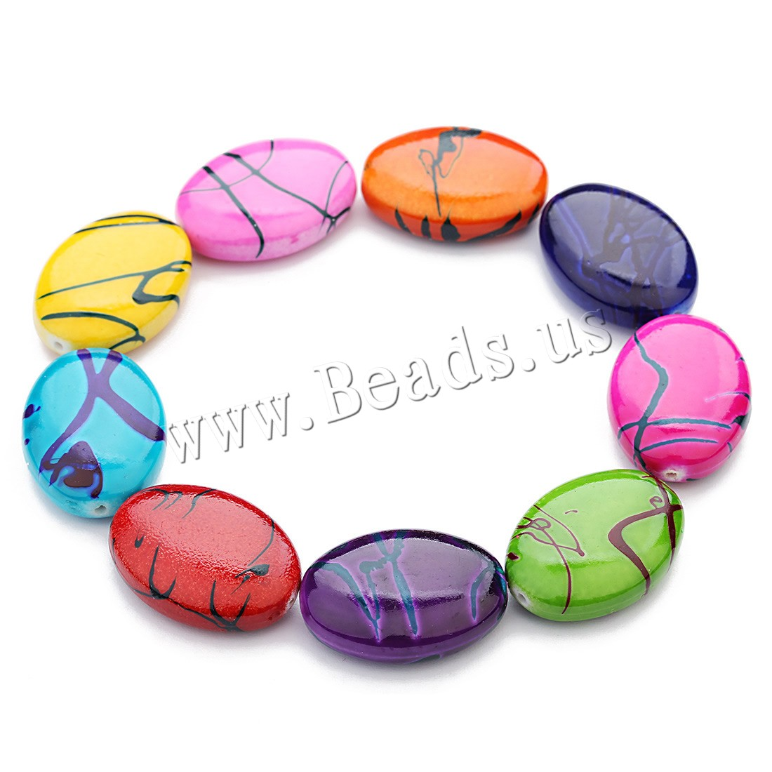 Resin Jewelry Beads Flat Oval mixed colors 24x18x7.5mm Hole:Approx 1mm 30PCs/Bag Sold Bag