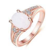 Messing Fingerring, mit Opal, Rósegold-Farbe plattiert, verschiedene Größen vorhanden & für Frau & mit Strass, verkauft von PC