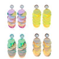 Zinklegierung Tropfen Ohrring, mit Kristall & Kunststoff, silberfarben plattiert, für Frau, keine, 26x78mm, verkauft von Paar