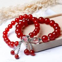 Roter Achat Armbänder, mit Messing, rund, plattiert, verschiedene Stile für Wahl & für Frau, rot, frei von Nickel, Blei & Kadmium, verkauft per ca. 7.5 ZollInch Strang