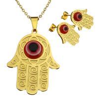 Edelstahl Mode Schmuckset, Ohrring & Halskette, mit Harz, Hamsa, goldfarben plattiert, böser Blick- Muster & Oval-Kette & für Frau, 34x44mm, 2mm, 15x18mm, Länge:ca. 19 ZollInch, verkauft von setzen
