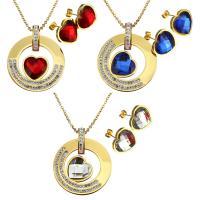 Edelstahl Mode Schmuckset, Ohrring & Halskette, mit Ton & Kristall, Herz, goldfarben plattiert, Oval-Kette & für Frau & facettierte, keine, 35mm, 2mm, 16x16mm, Länge:ca. 17 ZollInch, verkauft von setzen
