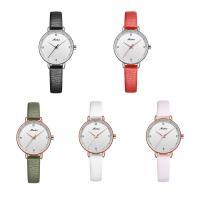 MEIBIN® Damen Schmuck Uhren, PU Leder, mit Glas & Edelstahl, plattiert, für Frau, keine, 28x8mm, Länge:ca. 7.5 ZollInch, verkauft von PC