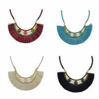 Zinklegierung Franse Halskette, mit PU Leder & Baumwolle Schnur & Kristall, QuasteTroddel, goldfarben plattiert, für Frau & facettierte & mit Strass, keine, frei von Nickel, Blei & Kadmium, 70mm, verkauft per ca. 19.7 ZollInch Strang
