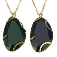 Edelstahl Halskette, mit Kristall, goldfarben plattiert, Oval-Kette & für Frau & facettierte, keine, 26x46mm, 2mm, verkauft per ca. 17 ZollInch Strang