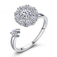 comeon® Finger-Ring, 925 Sterling Silber, einstellbar & für Frau & mit kubischem Zirkonia, 10mm, Größe:8, verkauft von PC