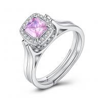 comeon® Finger-Ring, 925 Sterling Silber, Quadrat, platiniert, drehbare & einstellbar & für Frau & mit kubischem Zirkonia, 8mm, Größe:8, verkauft von PC