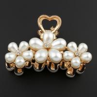 Zinklegierung Haarklammer, mit ABS-Kunststoff-Perlen, Blume, goldfarben plattiert, für Frau, frei von Blei & Kadmium, 70x48x34mm, verkauft von PC