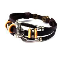 Kuhhaut Armband, mit Gewachsten Baumwollkordel & Holz & Zinklegierung, unisex & einstellbar, Länge:7.8-9.8 ZollInch, 5SträngeStrang/Menge, verkauft von Menge