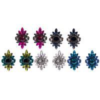 Zinklegierung Ohrstecker, mit Kristall, plattiert, für Frau & facettierte & mit Strass, keine, 28x42mm, verkauft von Paar