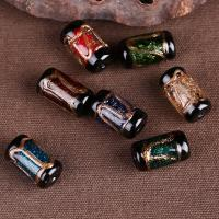 Goldfolie Lampwork Perlen, Zylinder, handgemacht, keine, 12x17mm, Bohrung:ca. 2mm, verkauft von PC
