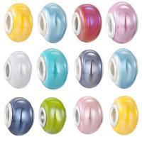 Porzellan Schmuckperlen, Rondell, silberfarben plattiert, einzelne Eisenkern ohne troll, keine, 9x15mm, Bohrung:ca. 4.5mm, 100PCs/Menge, verkauft von Menge