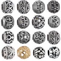 Zinklegierung Großes Loch Perlen, plattiert, verschiedene Stile für Wahl & hohl, frei von Nickel, Blei & Kadmium, 10x12mm, Bohrung:ca. 4.3mm, 10PCs/Menge, verkauft von Menge