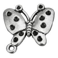 Zinklegierung Anhänger Zubehör, Schmetterling, antik silberfarben plattiert, mit Schleife, frei von Nickel, Blei & Kadmium, 26x26x6mm, Bohrung:ca. 2mm, 3mm, Innendurchmesser:ca. 1.5,2mm, 100PCs/Menge, verkauft von Menge