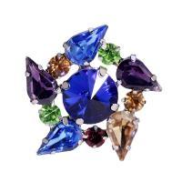 Zinklegierung Brosche, mit Kristall, Blume, silberfarben plattiert, für Frau & facettierte, 35x35mm, verkauft von PC