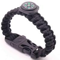 Überleben Armbänder, Terylen Schnur, mit Kunststoff, mit Kompass, keine, Länge:ca. 11 ZollInch, 5SträngeStrang/Menge, verkauft von Menge