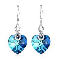 925 Sterling Silber Tropfen Ohrring, mit Österreichischer Kristall, Herz, für Frau & mit Strass, blau, 14x35.50mm, verkauft von Paar