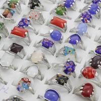 Zinklegierung Fingerring, mit Edelstein, Platinfarbe platiniert, Mischringgröße & für Frau & gemischt, frei von Blei & Kadmium, 19x23x14mm-22x28x12mm, Größe:6.5-11, 100PCs/Box, verkauft von Box