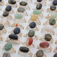 Zinklegierung Fingerring, mit Edelstein, Platinfarbe platiniert, Mischringgröße & für Frau & gemischt, frei von Blei & Kadmium, 20x25.5x14mm-23x29x24.5mm, Größe:6.5-11, 100PCs/Box, verkauft von Box