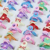Polymer Ton Fingerring, Schuhe, Mischringgröße & für Kinder, gemischte Farben, 16.5x20x17mm-20x24x17mm, Größe:3-6.5, 100PCs/Box, verkauft von Box