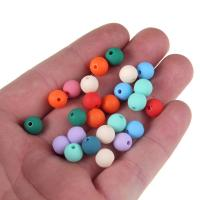 Acryl Schmuck Perlen, rund, gummierte & satiniert, gemischte Farben, 8mm, Bohrung:ca. 1mm, 100PCs/Tasche, verkauft von Tasche