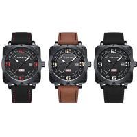 RISTOS® Uhrenkollektion, PU Leder, mit Glas & Edelstahl, schwärzen, einstellbar & für den Menschen & glänzend, keine, 24x13mm, Länge:ca. 10 ZollInch, verkauft von PC