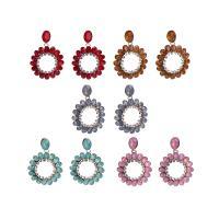 Zinklegierung Tropfen Ohrring, mit Kristall, Kreisring, goldfarben plattiert, für Frau & facettierte & mit Strass & hohl, keine, frei von Nickel, Blei & Kadmium, 40x55mm, verkauft von Paar