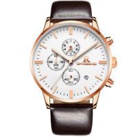 ONTHEEDGE®-Männer-Schmuck-Uhren, Kuhhaut, mit Glas & 316 L Edelstahl, plattiert, 30 m wasserdicht & einstellbar & für den Menschen & glänzend, keine, frei von Nickel, Blei & Kadmium, 42x10mm, 22mm, Länge:ca. 9.8 ZollInch, verkauft von PC