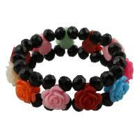 Harz Armband, mit Kristall, Blume, facettierte, 18x15x11mm, verkauft per ca. 7.5 ZollInch Strang