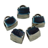 Zinklegierung Stiftöse Perlen, antik silberfarben plattiert, Emaille, frei von Blei & Kadmium, 9x10x8mm, Bohrung:ca. 1-5mm, 10PCs/Tasche, verkauft von Tasche