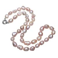 Süßwasserperlen Messing Halskette, Natürliche kultivierte Süßwasserperlen, mit Messing, natürlich, für Frau, Rosa, 9x12mm, verkauft per ca. 19.5 ZollInch Strang