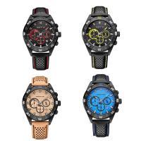 RISTOS® Uhrenkollektion, PU Leder, mit Glas & Edelstahl, schwärzen, einstellbar & für den Menschen, keine, 46x14mm, Länge:ca. 10 ZollInch, verkauft von PC