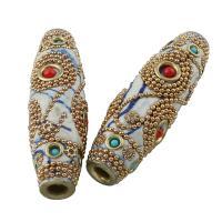 Zinklegierung Perle, mit Indonesien, Pferdeauge, goldfarben plattiert, mit Strass, frei von Blei & Kadmium, 60x17mm, Bohrung:ca. 5mm, verkauft von PC