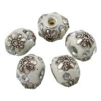 Zinklegierung Perle, mit Indonesien, antik silberfarben plattiert, mit Strass, frei von Blei & Kadmium, 11x15mm, Bohrung:ca. 3mm, verkauft von PC