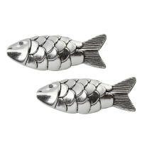 Zinklegierung Tier Perlen, Fisch, antik silberfarben plattiert, frei von Blei & Kadmium, 23x64x15mm, Bohrung:ca. 2mm, verkauft von PC