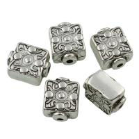 Verkupfertes Kunststoff-Perlen, Verkupferter Kunststoff, antik silberfarben plattiert, 13x11x7mm, Bohrung:ca. 1.5mm, 20PCs/Tasche, verkauft von Tasche