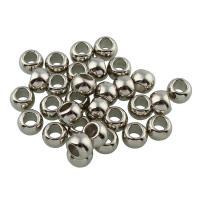 Verkupferter Kunststoff Großes Loch Perlen, Rondell, Platinfarbe platiniert, 5x7mm, Bohrung:ca. 4mm, 100PCs/Tasche, verkauft von Tasche