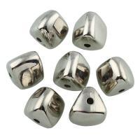 Verkupfertes Kunststoff-Perlen, Verkupferter Kunststoff, Platinfarbe platiniert, 14x15x15mm, Bohrung:ca. 2mm, 20PCs/Tasche, verkauft von Tasche