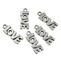 Zinklegierung Buchstaben Anhänger, Wort Liebe, antik silberfarben plattiert, frei von Blei & Kadmium, 8x21x2mm, Bohrung:ca. 1mm, 100G/Tasche, verkauft von Tasche